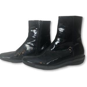 Aquatalia Patent Leather Ankle Booties